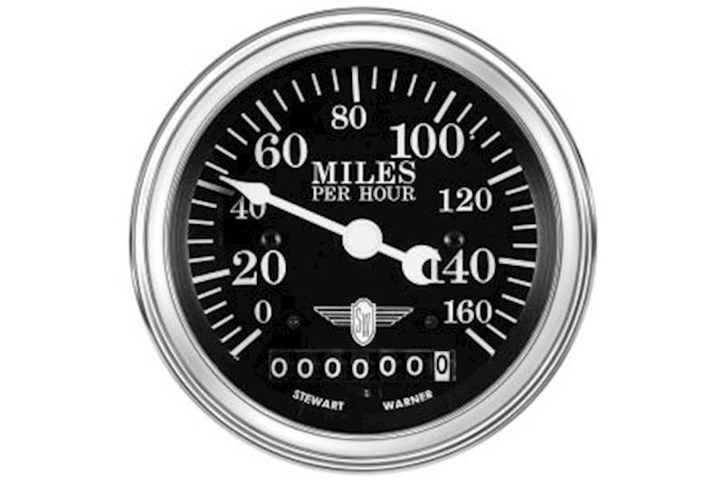 Stewart Warner 82664 Wings Mechanical Speedometer Black